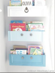 Old Drawers into Storage Shelves