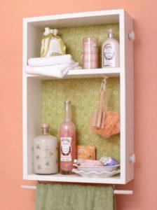 Repurposed Drawer into Bathroom Shelf