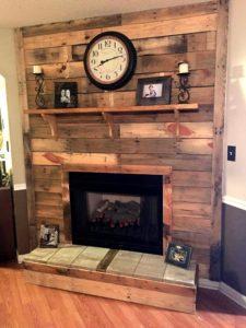 Wood Pallet Fireplace Mantel