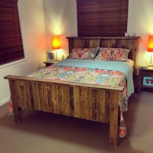 Wooden Pallet Bed with Headboard