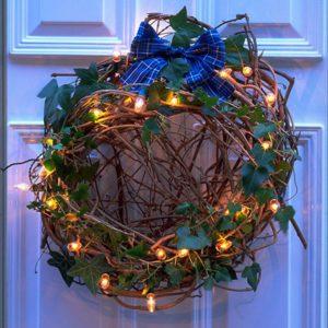 Christmas Front Door Wreath with Lighting
