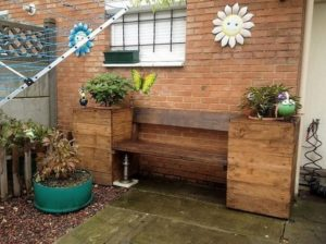 Wood Pallet Bench with Planters