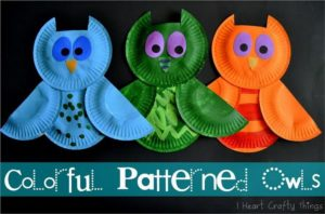 Colorful Paper Plate Owls