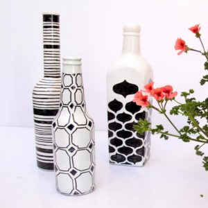 Draw Simple Patterns On Painted Bottles