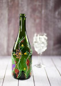 Floral Vine Design Upcycled Wine Bottle