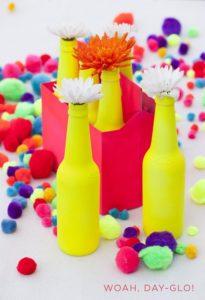 Glass Bottles Neon Vases