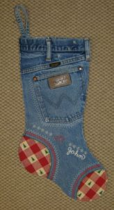 Old Denim into Christmas Stocking