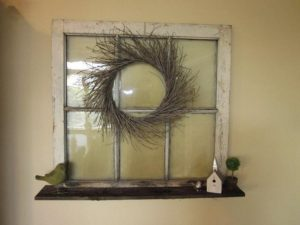 Old Window with Wreath Decoration