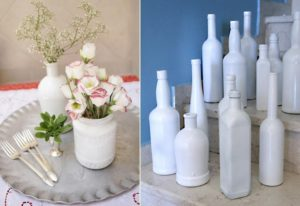 Painted Wine Bottle and Jar Vases