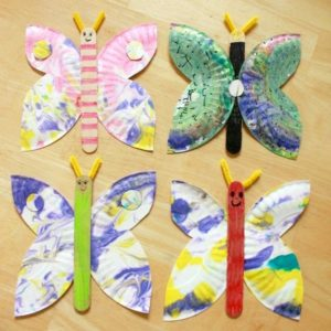 Paper Plate Marbled Butterfly