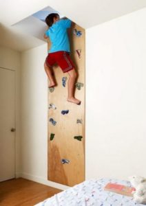 A Rock Climbing Wall that Takes to Another Room