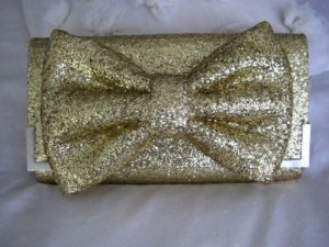 Glitter Gold Bow Clutch