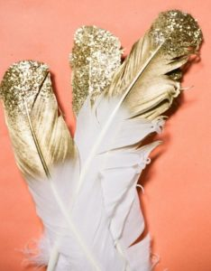 Gold-Dipped Glitter Feathers