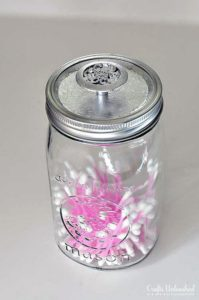 Mason Jar Storage Containers with Silver Leaf Knobs