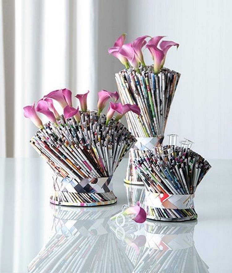 Recycled Paper Bouquet Vase
