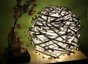 Rolled Up Newspaper Tube Lamp