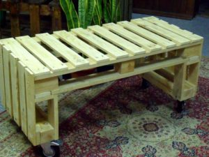 Wooden Pallet Bench on Wheels