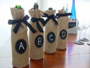 Burlap Wine Bottle Bags