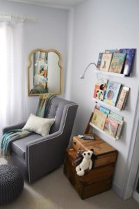 Hang picture-book shelves and stack suitcases as storage