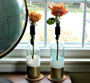 Paint Dipped Wine Bottle Vases