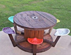 Pallet and Cable Spool Picnic Table