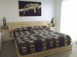 Wood Pallet Bed with Headboard