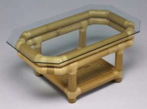 Bamboo Table with Glass Top