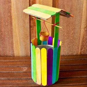 Colorful Mini Wishing Well from Ice Cream Sticks