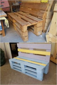 Painted Pallet Bench