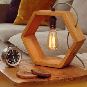 Rectangular Shape Wooden Lamp