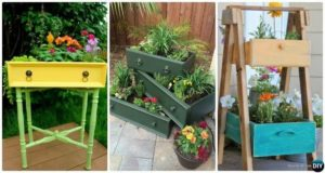 Recycled Old Drawers Planters