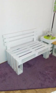 White Painted Wood Pallet Bench