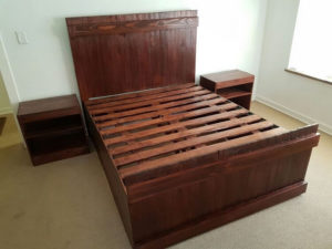 Wood Pallet Bed Frame with Headboard and Side Tables