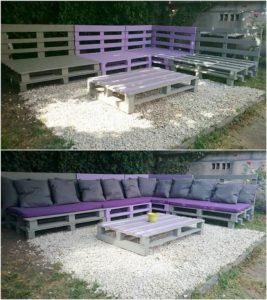 Pallet Garden Corner Sofa and Table