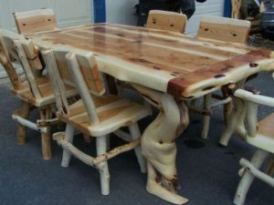 Rustic Dining Table with Chairs