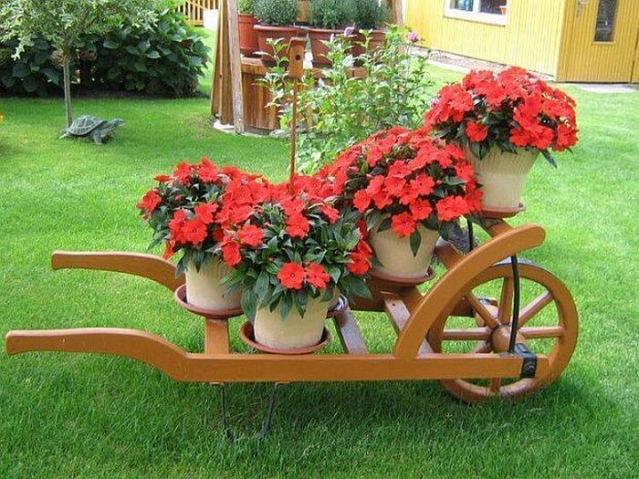 Wheel Baroow Garden Plants Stand
