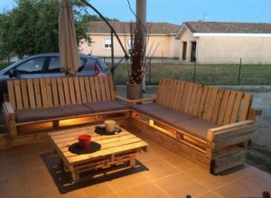 Wood Pallet Couch with Lights and Table