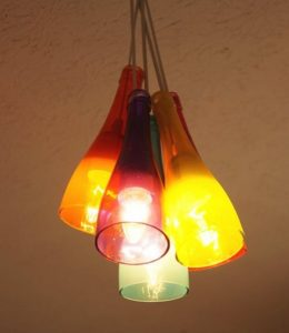 Rainbow Recycled Wine Bottle Chandelier