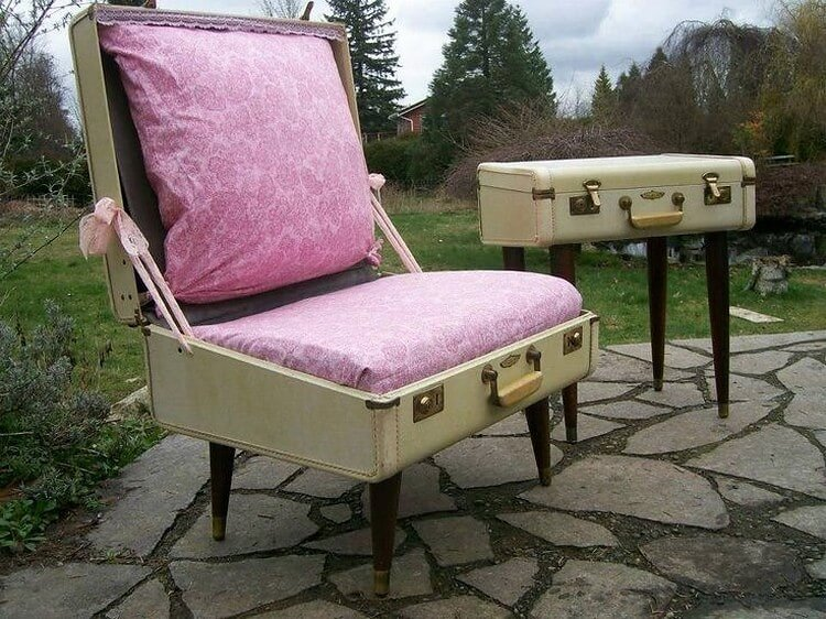 Recycled Suitcase Seat and Table