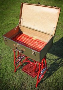 Recycled Suitcase and Sewing Machine Table with Storage