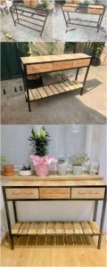 DIY Pallet Table with Steel Feets
