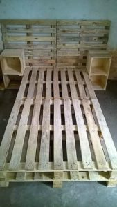 Pallet Bed Frame with Headboard and Side Tables
