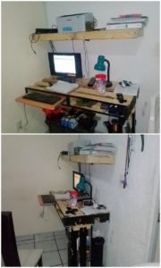 Pallet Computer Table and Shelf