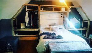 Pallet Headboard and Closet