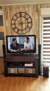 Pallet Wall Paneling and TV Stand
