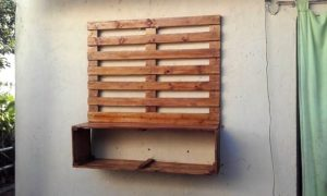 Pallet Wall LED Holder and Media Devices Shelf