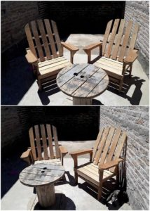 Pallet Chairs and Cable Reel Round Tables