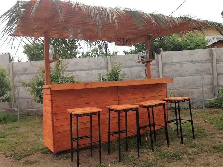Pallet Garden Bar and Stools