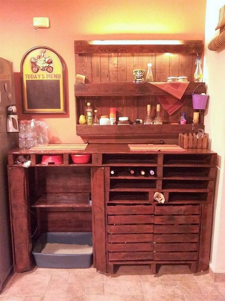 Pallet Kitchen Counter Table and Wall Shelf