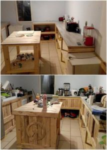 Pallet Kitchen Island Table and Cabinets